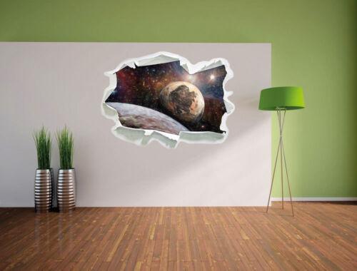 Alien Planeten im Weltall Kunst Buntstift Effekt 3D-Look Papier Wandtattoo Auf