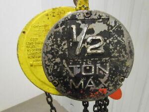CM-Columbus-Mckinnon-1-2-Ton-Manual-Chain-Fall-Hoist-24-039-Lift-1000-lb-Capacity