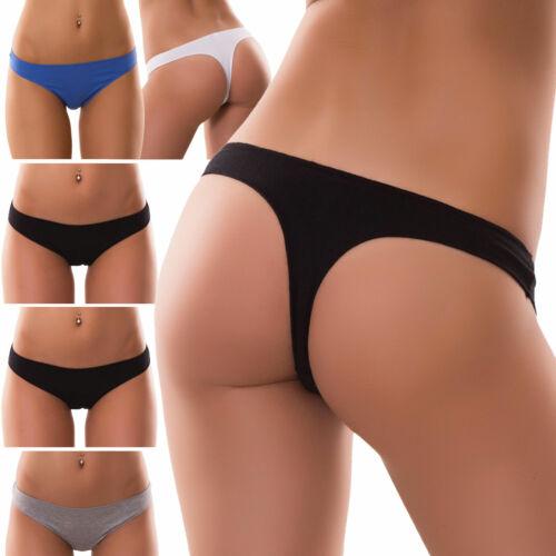 Stock 6 pezzi Perizoma slip donna thong string liscio tanga elasticizzato 368P6