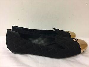Tory-Burch-suede-black-bronze-Women-flat-shoes-size-9M