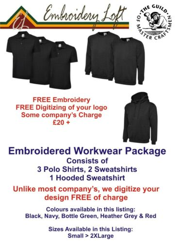 """TEXT PERSONALISED EMBROIDERED WORKWEAR PACKAGE  /""""FREE/"""" DIGITIZING OF YOUR LOGO"""