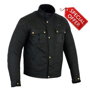 RKsports-Vintage-wax-Cotton-Short-Waterproof-Motorcycle-Motorbike-Jacket-CE