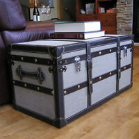 Decorative Medium Wood Steamer Trunk Wooden Treasure Hope Chest Storage Accent