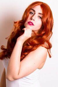 Beauty & Gesundheit Perücken & Haarverlängerungen Prettyland Lang-haar Mittel-scheitel Welle Lockenperücke Rot-braun Orange C800 Feine Verarbeitung