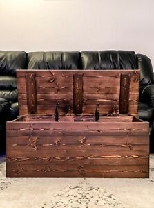 Details About Farmhouse Style Handcrafted Wooden Storage Trunk Chest Coffee Table