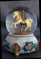 Old Time Carousel Horse Snow Globe - Sculptured Resin Water Ball Music Box 5 3/4