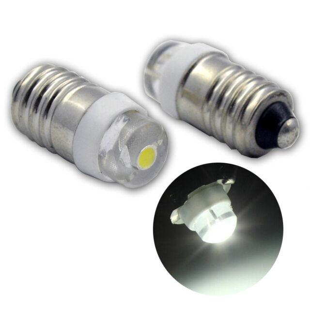 2x Miniature Led Flashlight Bulbs 6 Volt Mini Lamps White Cob E10 Small Led 0 5w