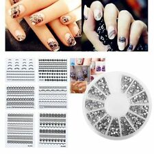 3D Nail Art Tips 1200pcs 1.5mm Crystal Rhinestone DIY+10x 3D Lace Design Sticker