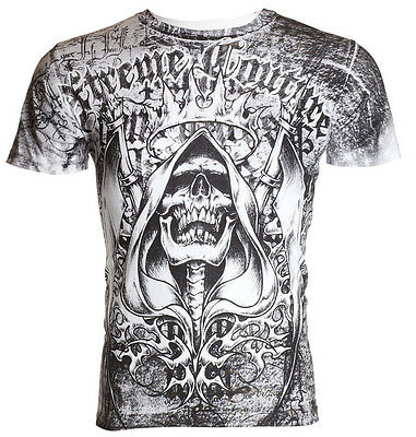 Xtreme Couture AFFLICTION Mens T-Shirt DEATH LIST Skull Biker MMA UFC M-4XL $40