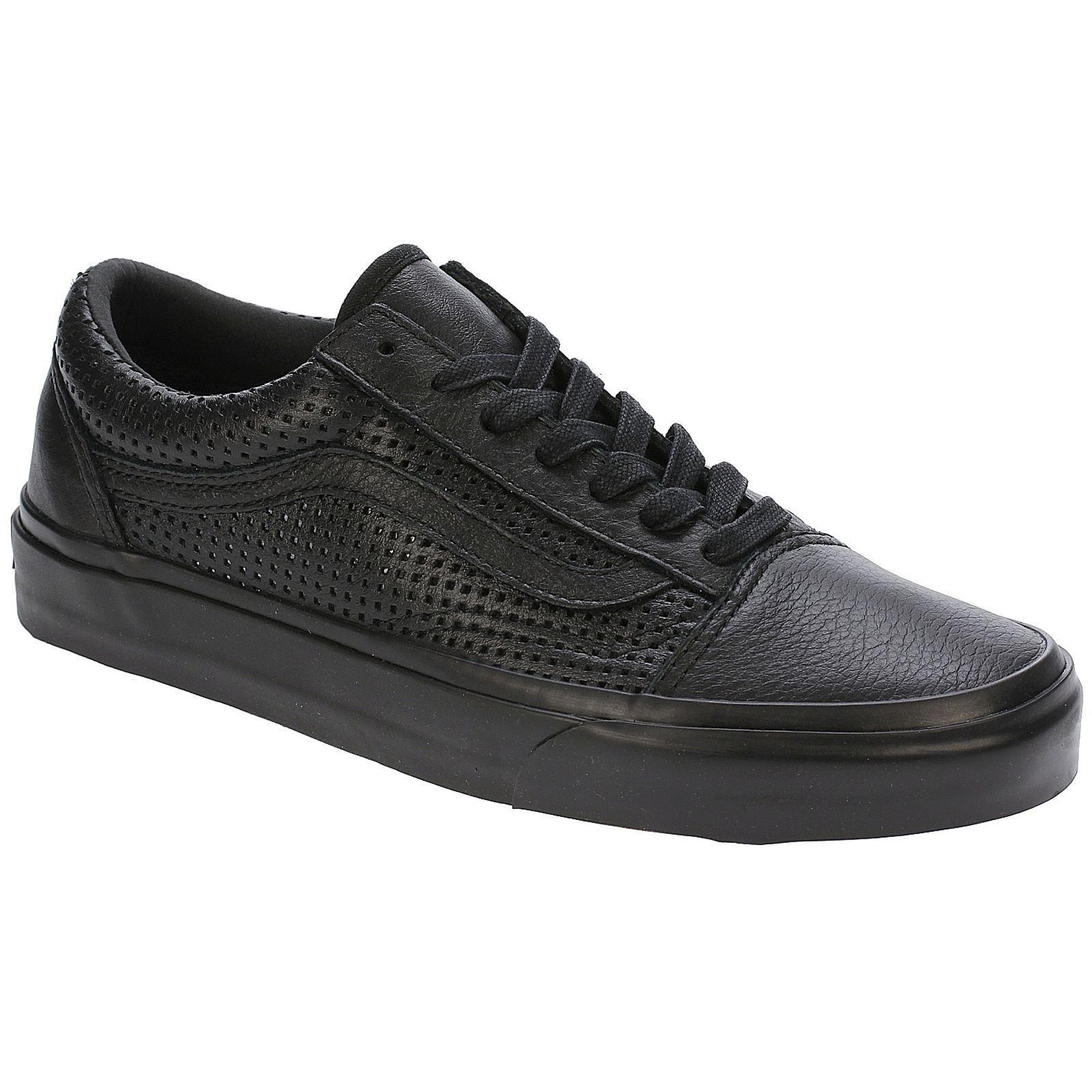 Vans square perf Old Skool DX Negro de cuero para mujer Zapatillas Tenis Zapatos Con Cordones