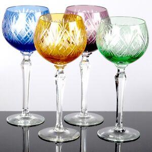 4-Weinglaeser-Weissweinglaeser-schoene-alte-Glaeser-Roemer-gruen-blau-orange-lila-bunt