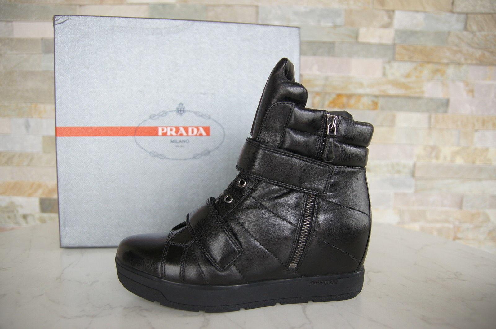 PRADA  schwarz 35,5 Stiefeletten Keil Booties Sneakers shoes Lamm schwarz  nero neu 8dd7ab