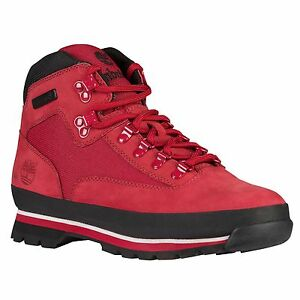 Mens Timberland Euro Hiker Classic Hiking Boots New Red