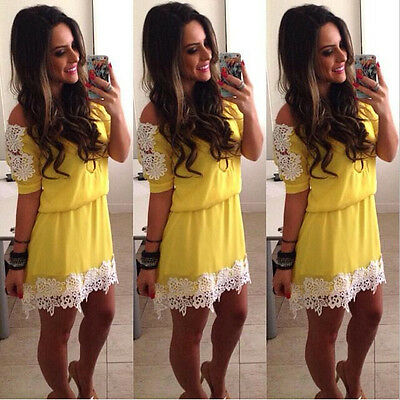 Sexy Women Summer Lace Casual Short Mini Dress Sleeveless Evening Party Cocktail
