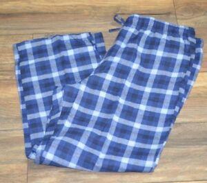 Croft /& Barrow Brushed Fleece Pants Soft /& Warm Blue Plaid Lounge PJ Bottoms