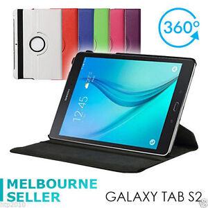 "Black Samsung Galaxy Tab S2 9.7"" 360° Rotating Case Stand Cover SM T810 T815 AU"