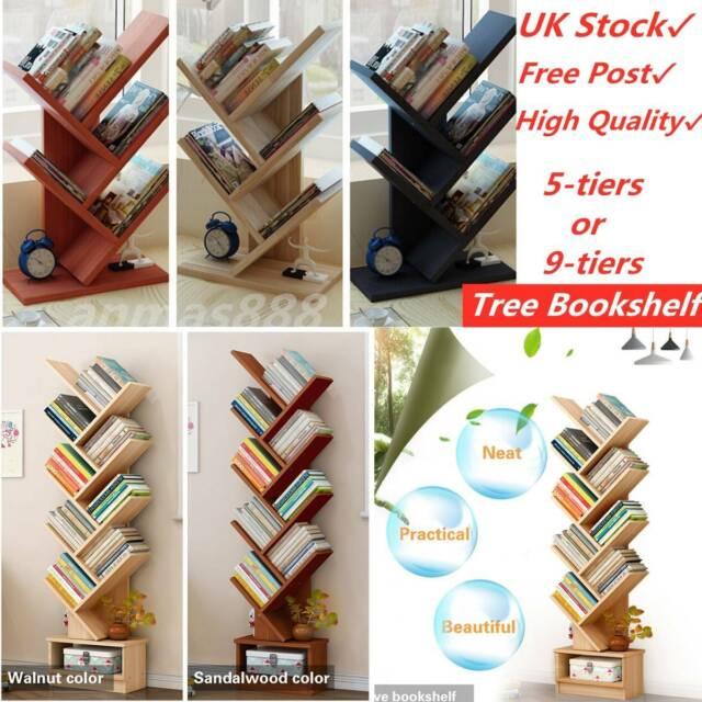 Tree Bookshelf 9 Shelf Organizer Storage Book Rack Bookcase
