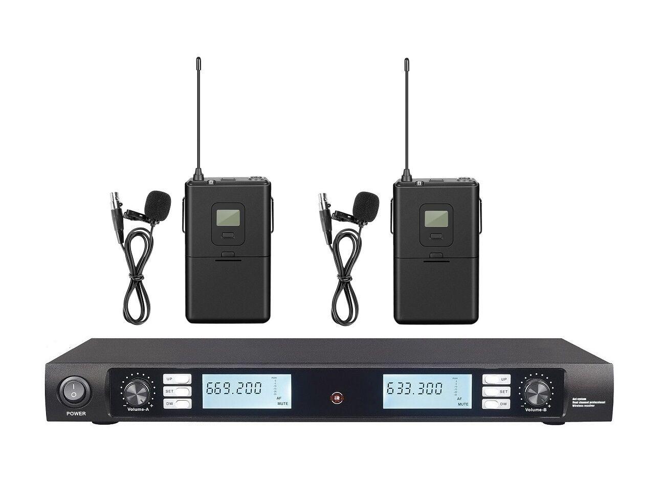 Collar de micrófono inalámbrico UHF doble doble doble sistema de micrófono de solapa inalámbrico con solapa  ahorrar en el despacho