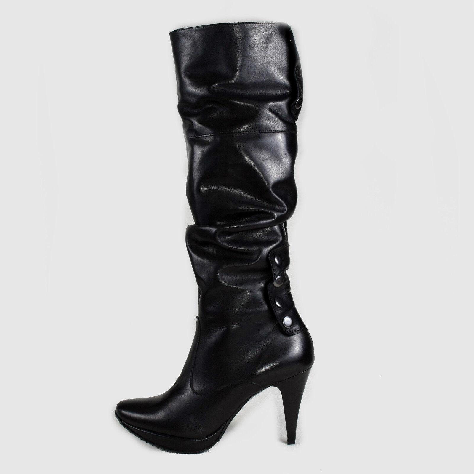 DAMEN STIEFEL STIEFELETTEN BUSINESS Stiefel SCHWARZ LEDER NEU 40 Schuhe