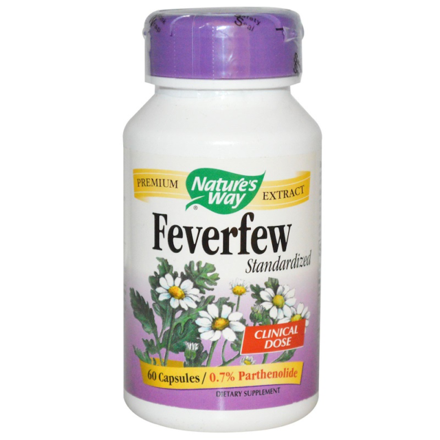 NEW NATURE'S WAY FEVERFEW STANDARDIZED CLINICAL DOSE PREMIUM EXTRACT 60 CAPSULES