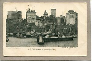 Postcard-NY-Lower-New-York-Ships-Piers-Water-Skyline-c1907-489