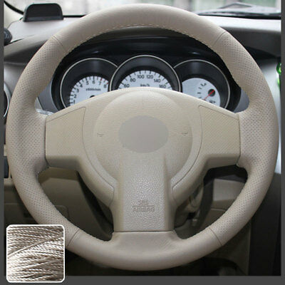 Real Leather Steering Wheel Cover Hand Sew for Nissan Versa 2007-11 Tiida 08-13