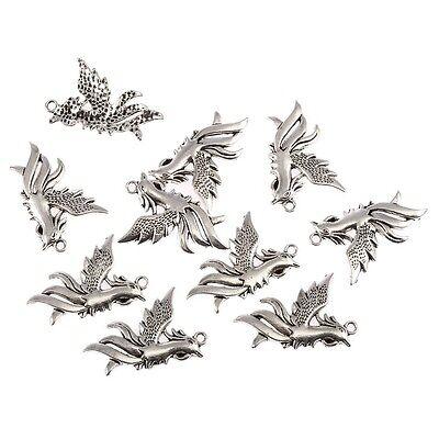 Phoenix Tibetan Silver Charms Bead Pendants fit Bracelet 35*30mm 8pcs