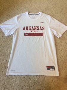Nike-Team-Arkansas-Football-Razorbacks-White-Dri-Fit-T-Shirt-Men-039-s-Size-Small