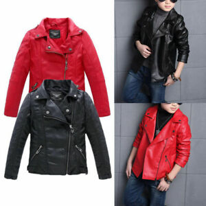 Boys-Casual-Turn-down-Leather-Collar-Jacket-coat-Children-Girl-Coats-And-Jackets