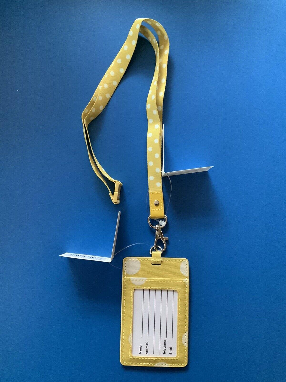 CATH KIDSTON Yellow Button Spotty Lanyard & ID Tag ~ New