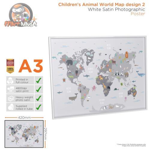 Design 2 Children's Kids Educational School World Map Poster Print A2 A3