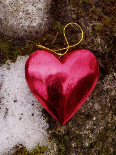 rouge-brillant article neuf øca.9cm 9 x pendentif cœur Coeurs bois nostalgie
