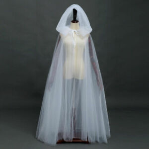 Women The Ghost Haunted Costume Black Hooded Cape Bride White Hooded Cloak