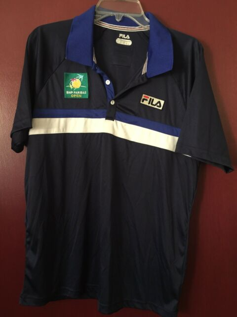 FILA Polo shirt Tennis BNP PARIBAS OPEN Mens Large Soft White Blue 3 Button
