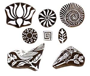 Mughal Design Wooden Printing Stamp Block Hand-Carved for Saree Border Art
