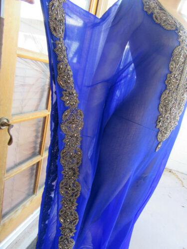 Royal Blue Sheer Caftan Embellished Beads Caftan M