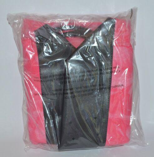 NEW VICTORIA/'S SECRET PINK BLACK TOTE BEACH BAG PURSE LARGE SWIM HANDBAG CANVAS