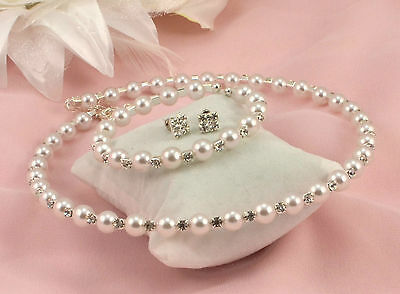 WHITE OR CREAM FAUX PEARL OR CRYSTAL CHOKER NECKLACE, EARRINGS & BRACELET SET