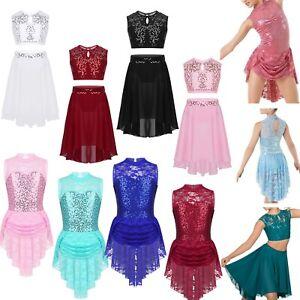 Girls-Contemporary-Ballet-Dance-Dress-Kids-Lyrical-Dance-Leotard-Skirt-Costumes