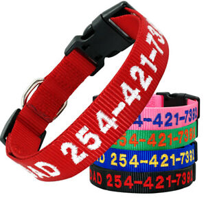 Embroidered-Dog-Collar-Nylon-Personalised-Pet-ID-Collar-Name-Number-Adjustable