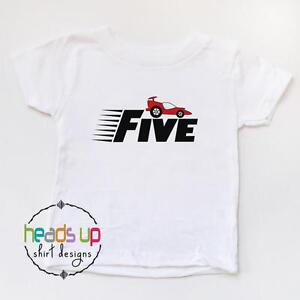 Image Is Loading 5 Birthday Shirt Boy Girl Racecar Race Car