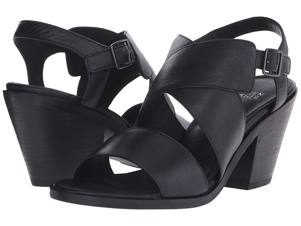 New Eileen Fisher Smooth Italian Leather 'Carat' Sandal Black Size 6 MSRP  235