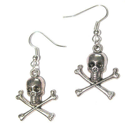 Pirate Skull with Crossbones Silver Plated Earrings NEW for Women's Costume