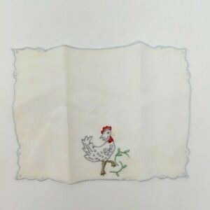 Vintage-Antique-Lot-of-10-Linen-Cloth-Napkins-Chicken-French-Crochet-Embroidered
