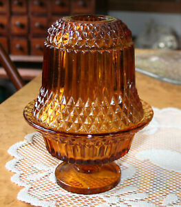 Vintage-Indiana-Glass-6-5-034-Amber-Fairy-Lamp-2-Piece-Votive-Candle-Holder