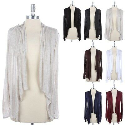 Fly Away Draped Solid Long Sleeve Cardigan Open Front Semi Sheer Rayon S M L