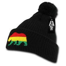Black Rasta California Republic Cali Bear Cuff Pom Winter Beanie Beanies Hat