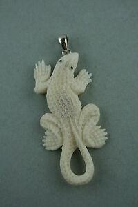Billiger Preis Bone Carving Gecko Bison Knochen Sterling Silber