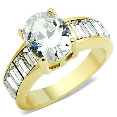 Oval Solitaire Ring Baguette Accents CZ Engagement Ring Gold IP Stainless Steel