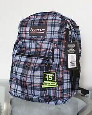 "NEW Jansport Trans School Backpack Blue Red Plaid Supermax 15"" Laptop Sleeve"